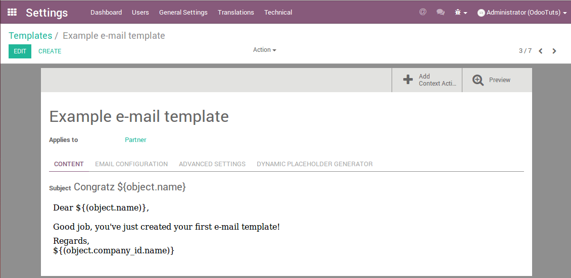 Creating e-mail templates in Odoo - Odoo tutorials