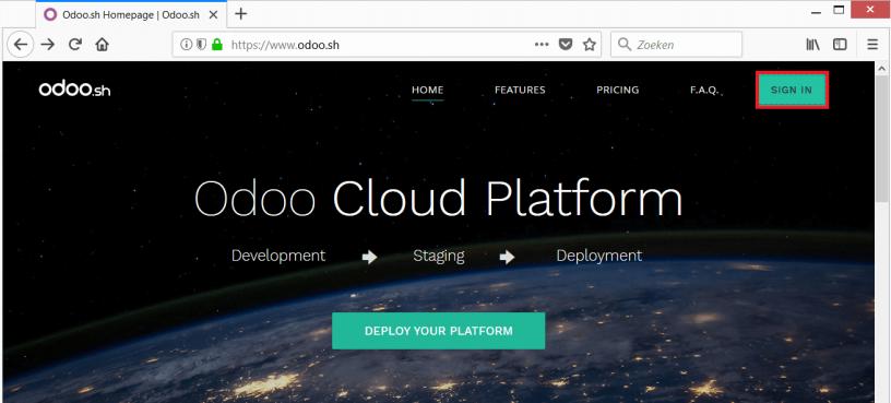 Odoo.sh homepage
