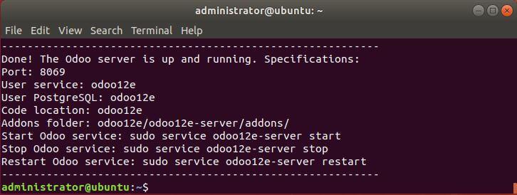 Result install script Odoo 12